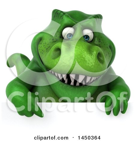 Clipart Graphic of a 3d Green Tommy Tyrannosaurus Rex Dinosaur Mascot over a Sign, on a White Background - Royalty Free Illustration by Julos