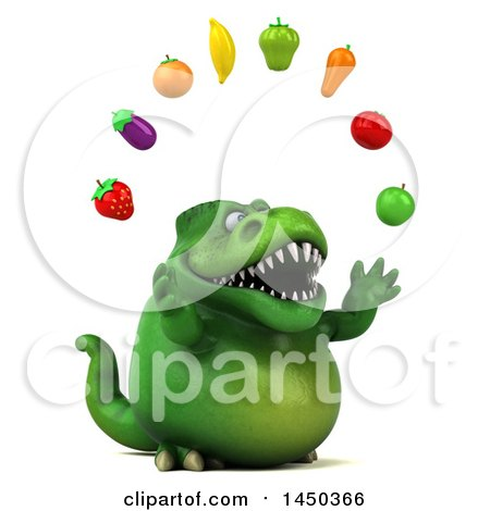 Clipart Graphic of a 3d Green Tommy Tyrannosaurus Rex Dinosaur Mascot Juggling Produce, on a White Background - Royalty Free Illustration by Julos