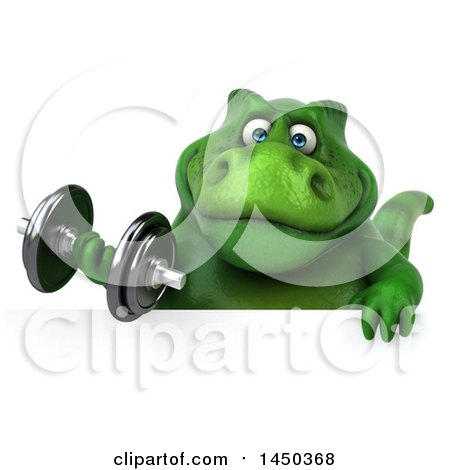 Clipart Graphic of a 3d Green Tommy Tyrannosaurus Rex Dinosaur Mascot Working out with a Dumbbell, on a White Background - Royalty Free Illustration by Julos