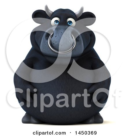 Clipart Graphic of a 3d Black Bull Character, on a White Background - Royalty Free Illustration by Julos