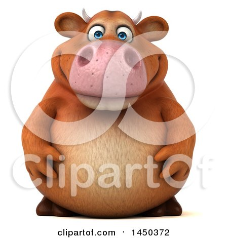 Clipart Graphic of a 3d Brown Cow Character, on a White Background - Royalty Free Illustration by Julos