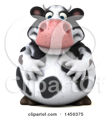 Clipart Graphic of a 3d Holstein Cow Character, on a White Background - Royalty Free Illustration by Julos