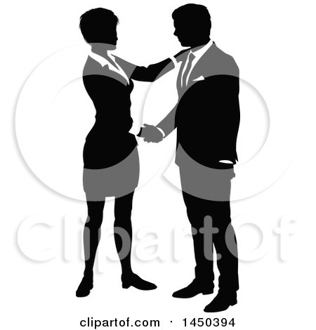 Black and White Silhouetted Business Man and Woman Shaking Hands Posters, Art Prints