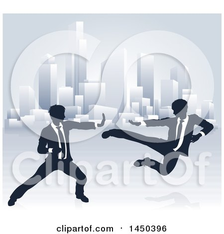 Clipart Graphic of Silhouetted Business Men Kung Fu Fighting over a City - Royalty Free Vector Illustration by AtStockIllustration