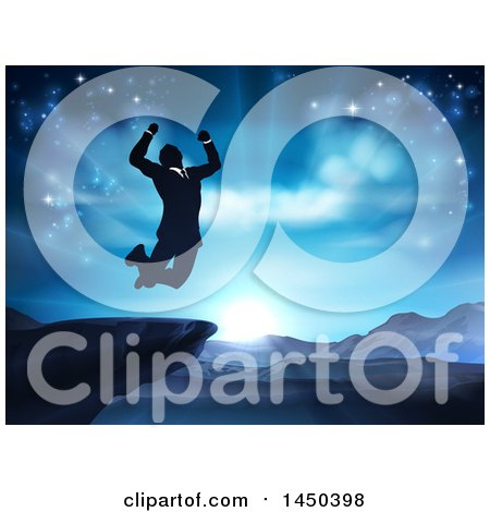 Clipart Graphic of a Silhouetted Business Man Jumping and Cheering on a Cliff, Against a Blue Sky over Mountains - Royalty Free Vector Illustration by AtStockIllustration