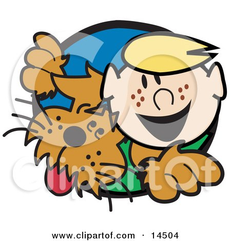 Happy Freckled Blond Boy With His Dog Clipart Illustration by Andy Nortnik