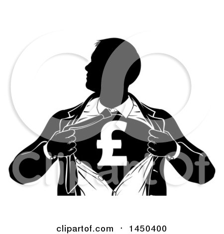 Clipart Graphic of a Black and White Silhouetted Strong Business Man Super Hero Ripping off His Suit, Revealing a Pound Currency Symbol - Royalty Free Vector Illustration by AtStockIllustration