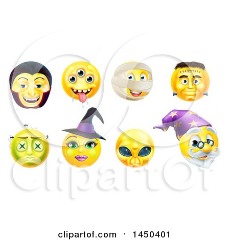 Clipart Graphic of Yellow Halloween Smiley Emoji Emoticon Faces - Royalty Free Vector Illustration by AtStockIllustration