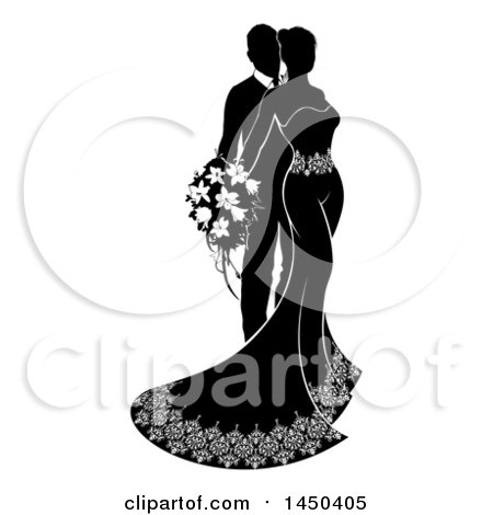 Clipart Graphic of a Black and White Silhouetted Posing Wedding Bride and Groom - Royalty Free Vector Illustration by AtStockIllustration