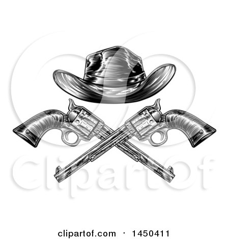 Clipart Graphic of a Black and White Woodcut Etched or Engraved Crossed Cowboy Hat over Vintage Revolver Pistols - Royalty Free Vector Illustration by AtStockIllustration