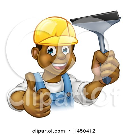 Clipart Graphic of a Cartoon Happy Black Male Window Cleaner in a Hardhat, Giving a Thumb up and Holding a Squeegee - Royalty Free Vector Illustration by AtStockIllustration
