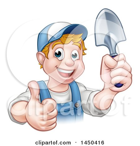 Clipart Graphic of a Cartoon Happy White Male Gardener in Blue, Holding a Garden Trowel and Giving a Thumb up - Royalty Free Vector Illustration by AtStockIllustration