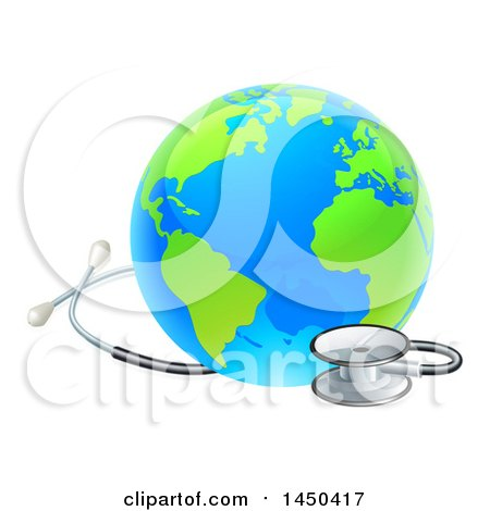 Clipart Graphic of a Blue and Green World Earth Globe with a Stethoscope - Royalty Free Vector Illustration by AtStockIllustration