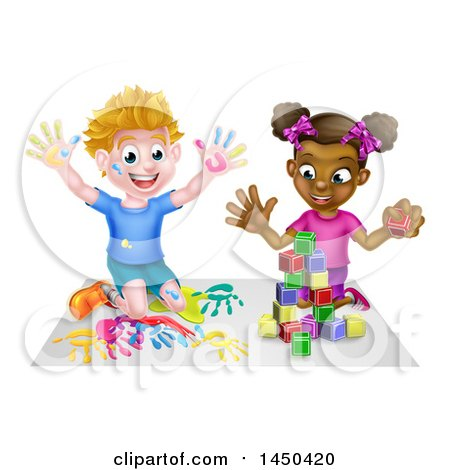 Cartoon Happy Black Girl Playing with Toy Blocks and White Boy Finger Painting Posters, Art Prints