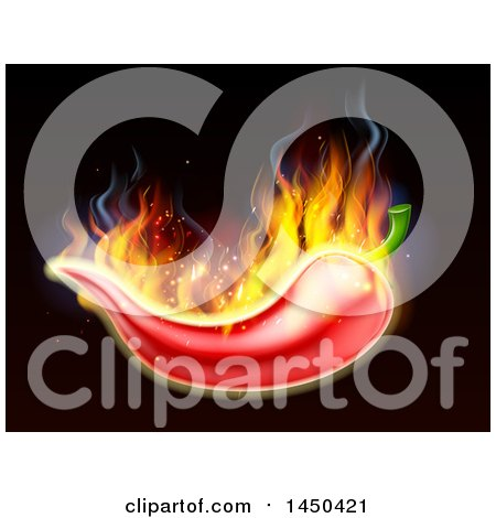Clipart Graphic of a Fiery Burning Hot Red Chile Pepper on Black - Royalty Free Vector Illustration by AtStockIllustration