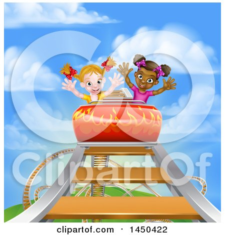 Clipart Graphic of Happy White and Black Girls at the Top of a Roller Coaster Ride, Against a Blue Sky with Clouds - Royalty Free Vector Illustration by AtStockIllustration