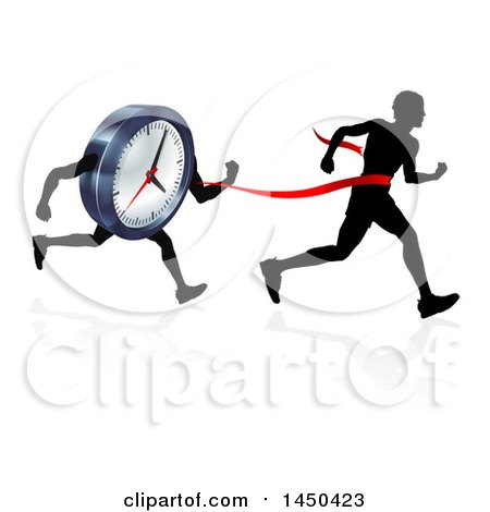 Clipart Graphic of a Silhouetted Man Running Through a Finish Line Before a Clock Character - Royalty Free Vector Illustration by AtStockIllustration