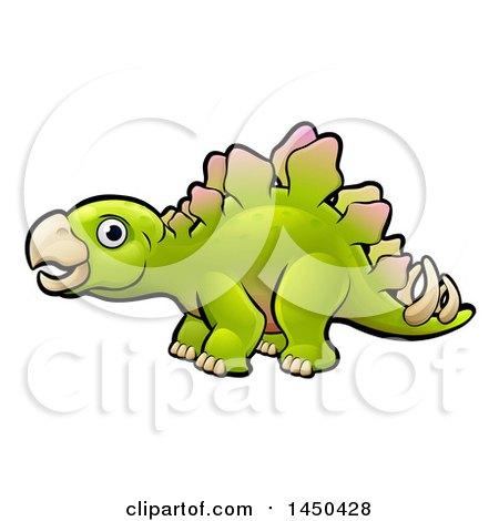 Clipart Graphic of a Cartoon Green Stegosaur Dino - Royalty Free Vector Illustration by AtStockIllustration