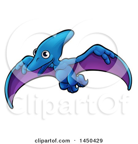 Clipart Graphic of a Cartoon Flying Pterodactyl Dino - Royalty Free Vector Illustration by AtStockIllustration