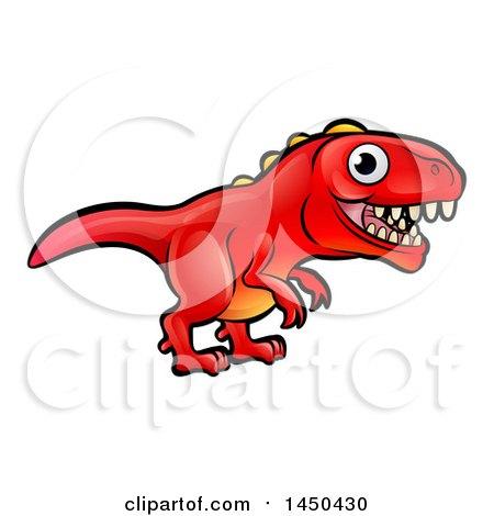 Clipart Graphic of a Cartoon Red Tyrannosaurus Rex Dino - Royalty Free Vector Illustration by AtStockIllustration
