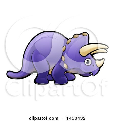 Clipart Graphic of a Cartoon Purple Triceratops Dino Facing Right - Royalty Free Vector Illustration by AtStockIllustration