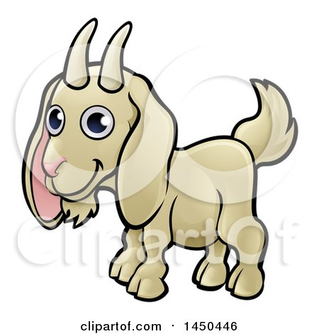 Clipart Graphic of a Cartoon Happy Goat - Royalty Free Vector Illustration by AtStockIllustration