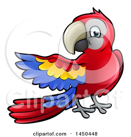 Clipart Graphic of a Cartoon Scarlet Macaw Parrot Presenting to the Left - Royalty Free Vector Illustration by AtStockIllustration