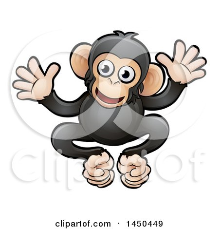 Clipart Graphic of a Cartoon Happy Chimpanzee - Royalty Free Vector Illustration by AtStockIllustration