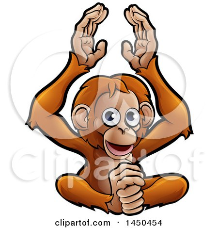 Clipart Graphic of a Cartoon Happy Clapping Monkey - Royalty Free Vector Illustration by AtStockIllustration