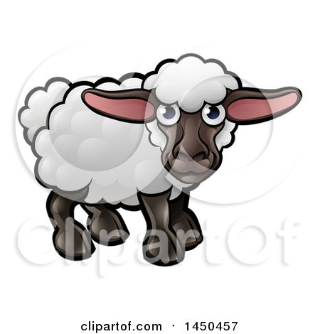Clipart Graphic of a Cartoon Black Sheep - Royalty Free Vector Illustration by AtStockIllustration