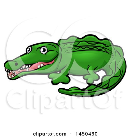 Clipart Graphic of a Cartoon Crocodile - Royalty Free Vector Illustration by AtStockIllustration