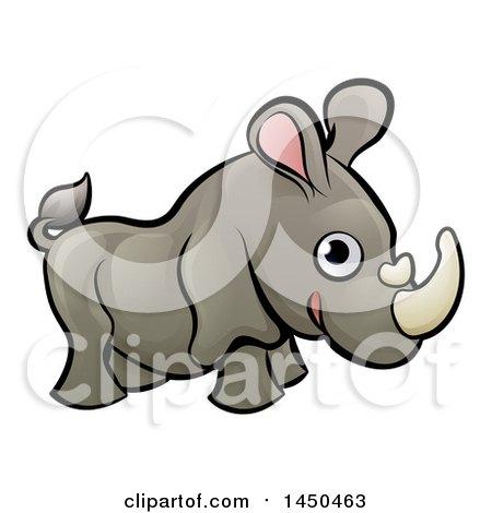Clipart Graphic of a Cartoon Happy Rhinoceros - Royalty Free Vector Illustration by AtStockIllustration