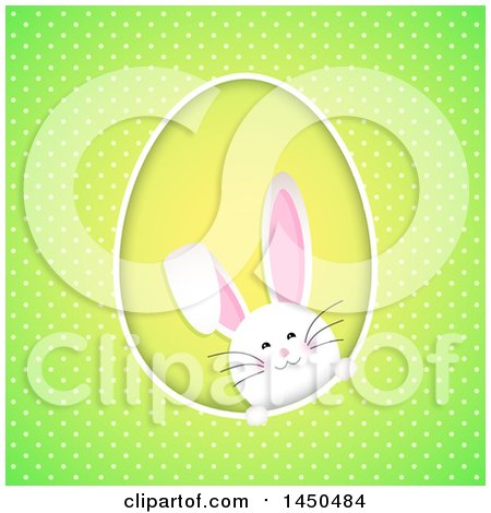 Clipart Graphic of a White Easter Bunny Rabbit in an Egg Shaped Frame on Green Polka Dots - Royalty Free Vector Illustration by KJ Pargeter