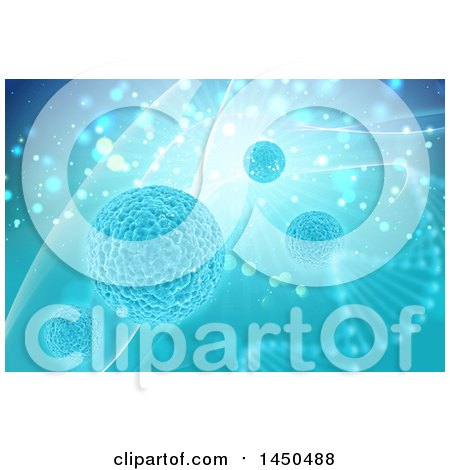 Clipart Graphic of a Dna Strand and Virus Cells Background - Royalty Free Illustration by KJ Pargeter