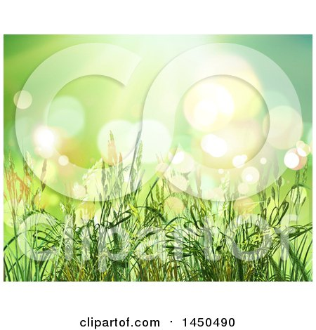 Clipart Graphic of a Background of 3d Wheat Strands over Green with Flares - Royalty Free Illustration by KJ Pargeter