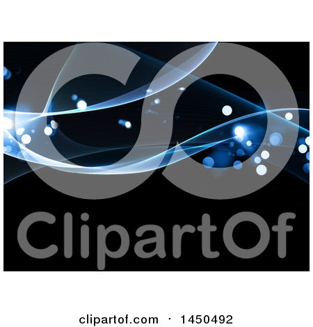 Clipart Graphic of a Background of Blue Waves and Flares on Black - Royalty Free Illustration by KJ Pargeter