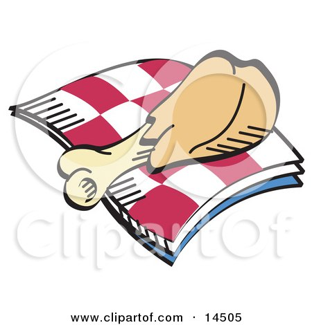 Tasty Chicken Drumstick on a Checkered Picnic Blanket Clipart Illustration by Andy Nortnik