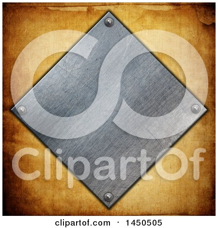 Clipart Graphic of a Metal Plate over Grunge - Royalty Free Illustration by KJ Pargeter