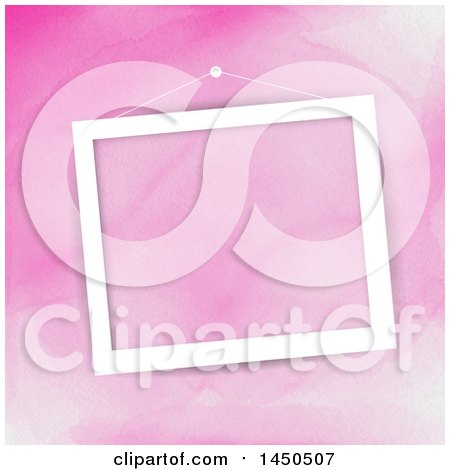 Blank White Picture Frame Hanging over Pink Watercolor Posters, Art Prints