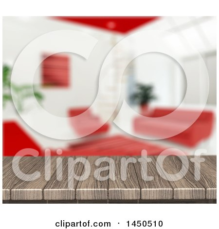 Clipart Graphic of a 3d Wooden Table Top with a Blurred White and Red Living Room - Royalty Free Illustration by KJ Pargeter