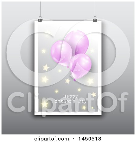 Clipart Graphic of a Hanging Happy Mothers Day Card with Balloons and Stars, over Gray - Royalty Free Vector Illustration by KJ Pargeter