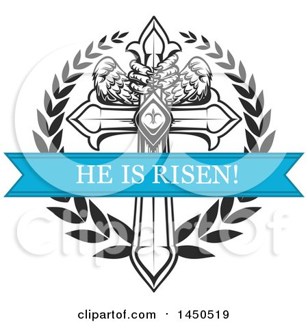 Clipart Graphic Of A Black And White Cross With Eagle Talons And Wings, A  Wreath And Blue He Is Risen Banner   Royalty Free Vector Illustration By  Vector ...