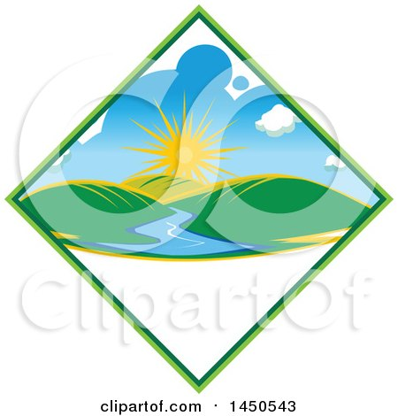 Clipart Graphic of a Sunny Landscape with Hills and a River in a Diamond, with Text Space - Royalty Free Vector Illustration by Vector Tradition SM