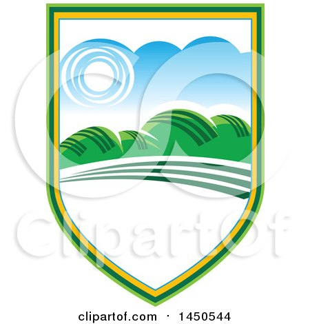 Clipart Graphic of a Sunny Landscape with Hills and White Text Space in a Shield - Royalty Free Vector Illustration by Vector Tradition SM