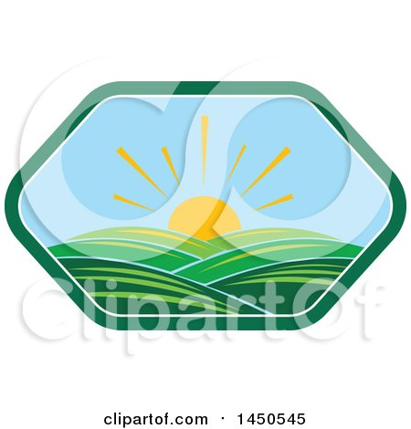 Clipart Graphic of a Sunny Landscape with Hills in a Hexagon - Royalty Free Vector Illustration by Vector Tradition SM