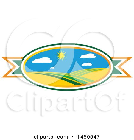 Clipart Graphic of a Sunny Landscape with Hills in an Oval over a Ribbon - Royalty Free Vector Illustration by Vector Tradition SM