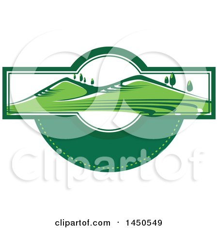 Clipart Graphic of a Green Landscape with Hills and Trees with Text Space - Royalty Free Vector Illustration by Vector Tradition SM