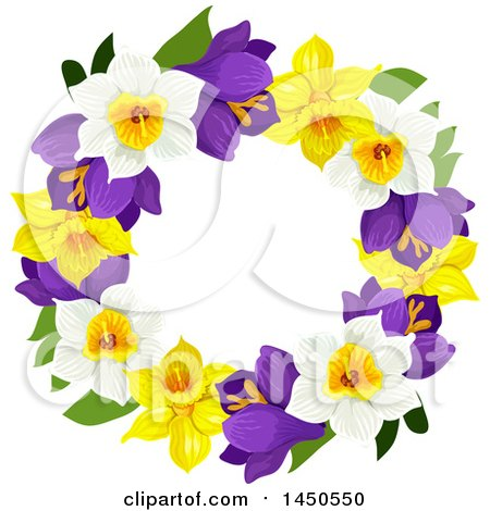 Clipart Graphic of a Wreath Made of Daffodils and Narcissus Flowers - Royalty Free Vector Illustration by Vector Tradition SM