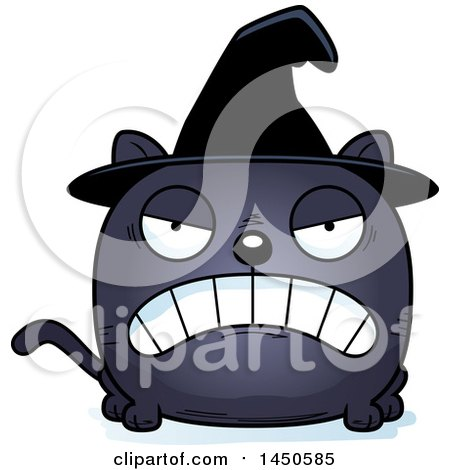 Clipart Graphic of a Cartoon Mad Witch Cat Character Mascot - Royalty Free Vector Illustration by Cory Thoman
