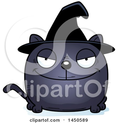 Clipart Graphic of a Cartoon Sly Witch Cat Character Mascot - Royalty Free Vector Illustration by Cory Thoman